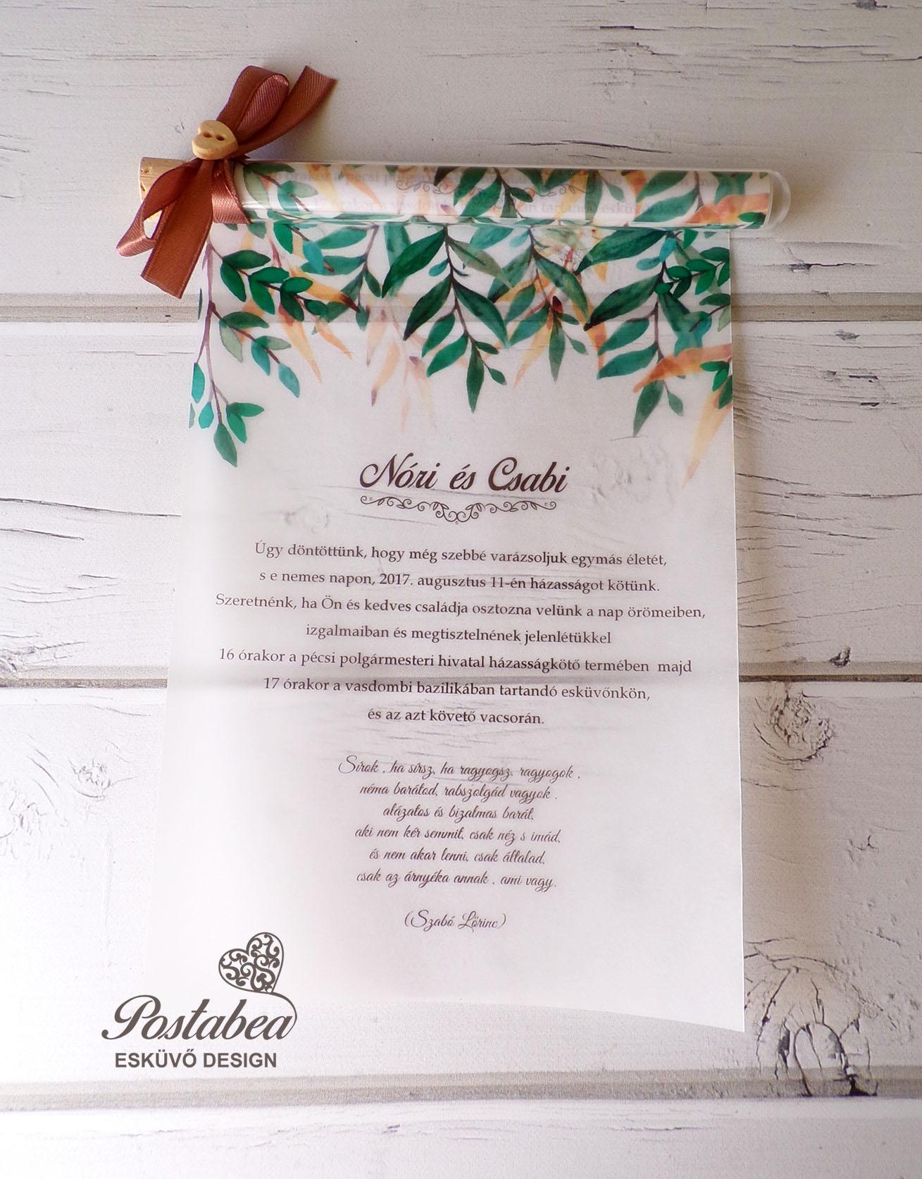 56d51bd8370 Rusztikus vintage greenery esküvői meghívó | Postabea esküvői meghívó