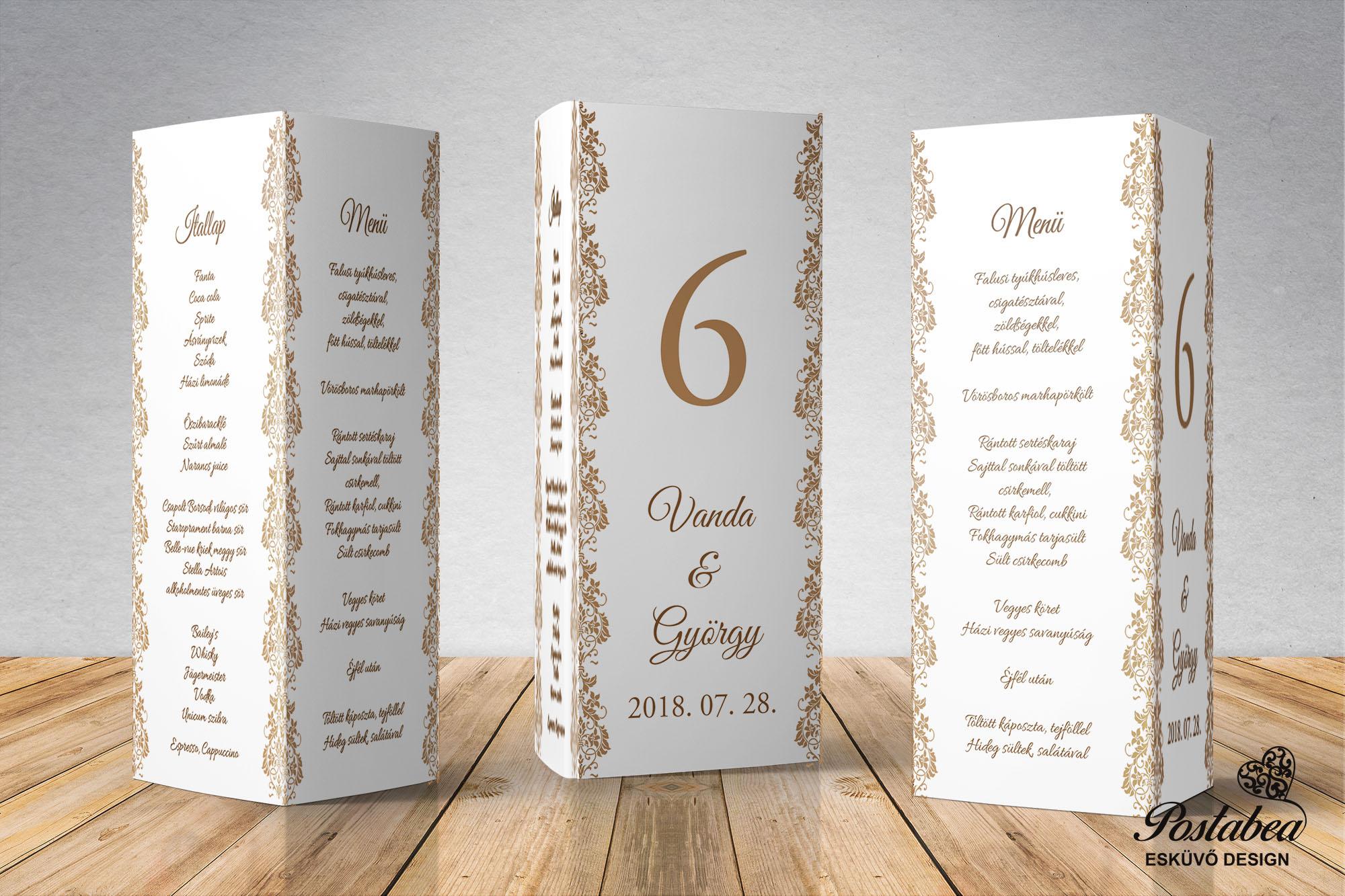 8efaee116f Esküvői menükártya, menülap, menühenger, esküvői asztalszám, esküvő ...