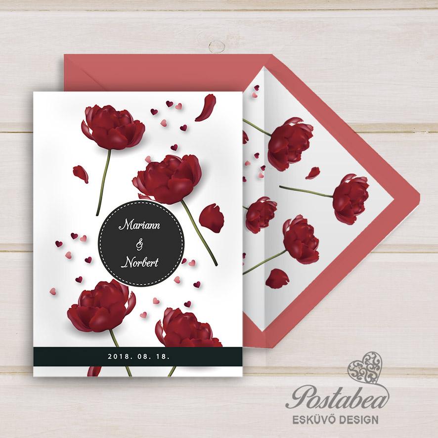 241a354961 piros virágos esküvői meghívó | Postabea esküvői meghívó